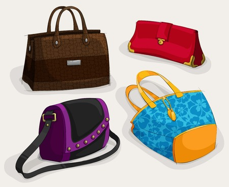 satchel: Fashion womans bags collection of classic leather bag handbag satchel and clutch isolated illustration