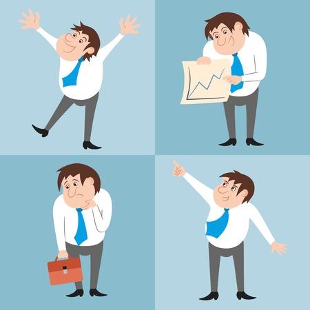 set of businessman: Businessman character poses funny emotions set illustration Illustration