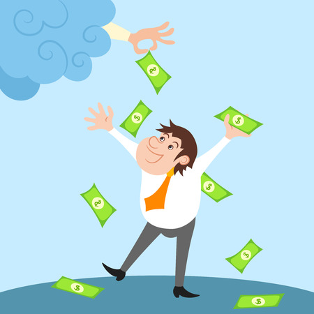 financial success: Happy Gesch�ftsmann Charakter steht unter Geld regen nach finanziellen Erfolg Illustration Illustration