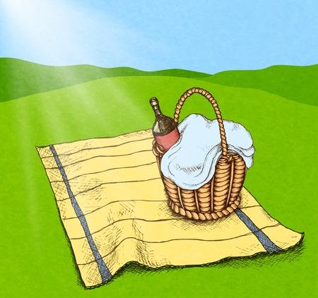 speelveld gras: Picknickmand met eten en wijn op grasveld illustratie