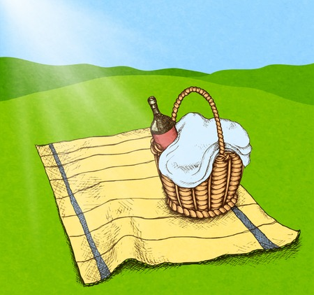 picnic park: Picnic basket with food and wine on grass field illustration Illustration