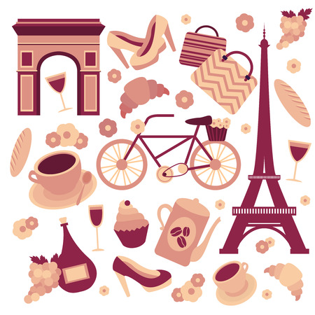 french culture: Paris symbols collection of eiffel tower, french croissant, coffee and culture isolated illustration Illustration