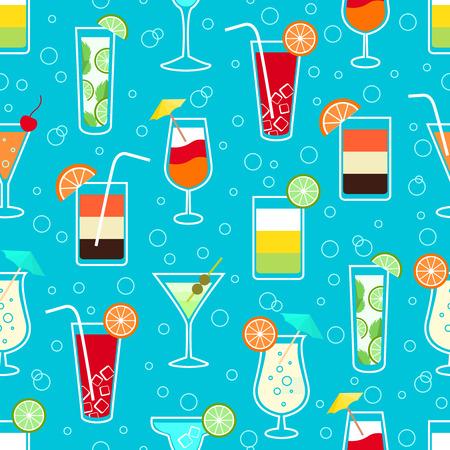 Naadloze patroon achtergrond met alcohol cocktail drinken van martini margarita tequila wodka illustratie