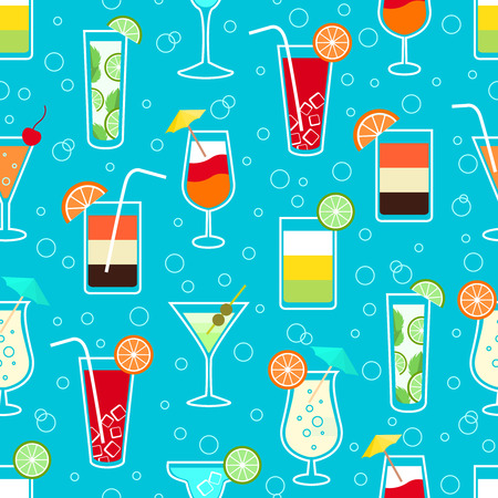 Seamless pattern background with alcohol cocktail drinks of martini margarita tequila vodka illustration Vector