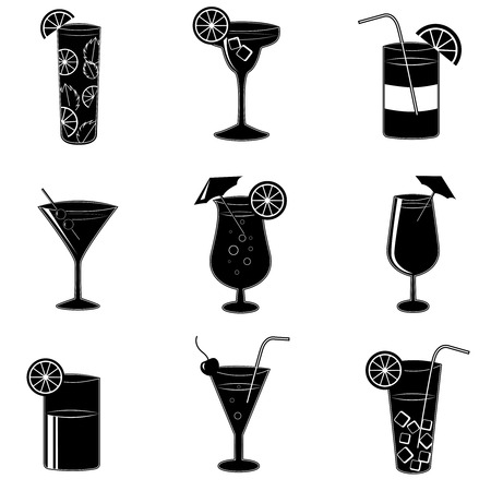 Pictograms of party cocktails with alcohol drinks martini vodka tequila and brandy isolated illustration Çizim