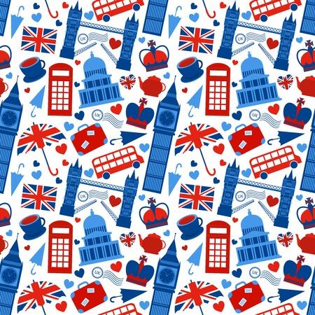 bandera inglesa: Fondo Patrón sin fisuras con los monumentos de Londres y símbolos de Gran Bretaña ilustración Vectores