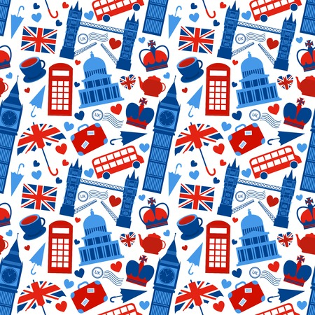 english culture: Seamless pattern background with London landmarks and Britain symbols illustration Illustration