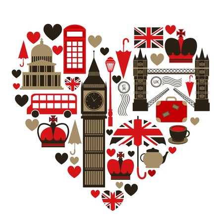 inglese flag: Amore Londra simbolo del cuore con set di icone, illustrazione vettoriale