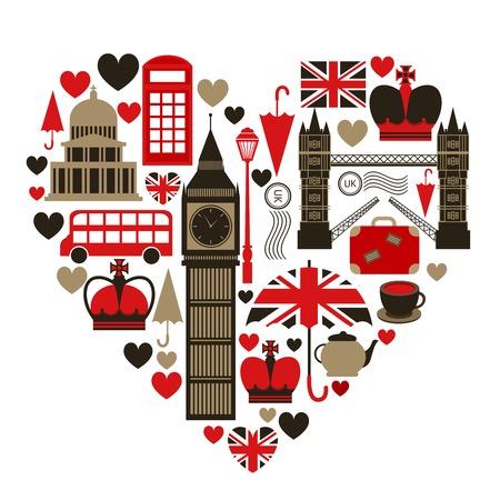drapeau anglais: Symbole de l'amour du c?ur de Londres avec des icônes ensemble isolé illustration vectorielle