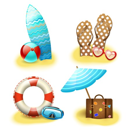 Summer holiday vacation accessories collection of sandals suitcase parasol and surfboard isolated illustration Vector