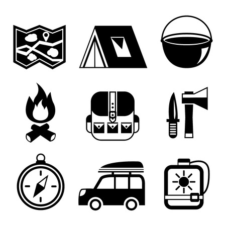 Outdoors tourism camping flat pictogram set of campfire tent backpack tools and map isolated illustration Vector