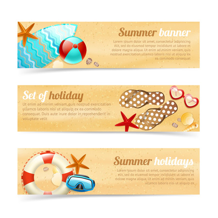 Collection of banners and ribbons with summer holiday vacation design elements isolated illustration