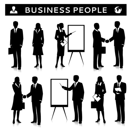 business presentation: Flip charts with business people silhouettes talking handshaking and collaborating illustration