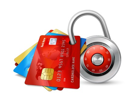 Set of secure credit cards with chips protected by encryption padlock isolated illustration Ilustração