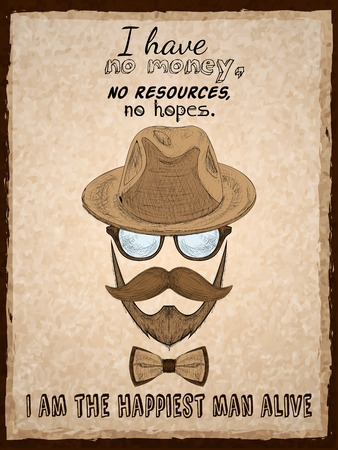 Hand drawn hipster poster print with glasses beard mustache hat and pipe illustration Vector