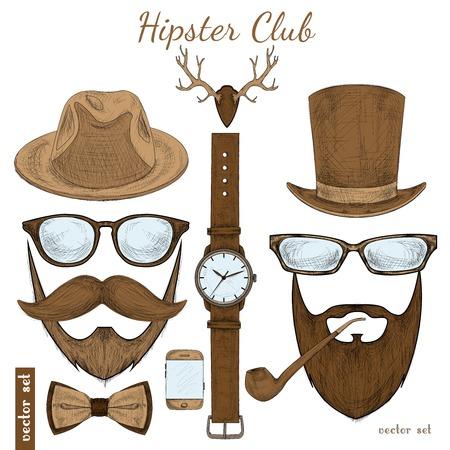Vintage hipster club accessoires set voor gentleman van glazen hoed pijp boog snor en baard geïsoleerde schetsillustratie