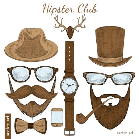 Vintage hipster club accessories set for gentleman of glasses hat tobacco pipe bow mustache and beard isolated sketch illustration Çizim