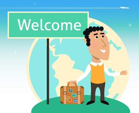 business traveler: Vacation or business traveler character with suitcase and welcome sign vector illustration