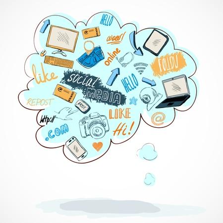 Talking tekst buble met geïsoleerde social media technologie iconen begrip vector illustratie Stock Illustratie