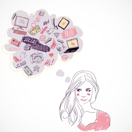 blog design: Girl dreaming thinking about social media technology communication isolated vector illustration