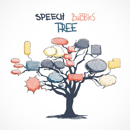 bubles: Doodle comic talk bubbles growing on tree isolated vector illustration