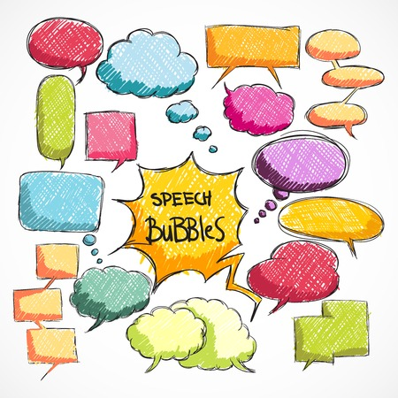 bubles: Doodle comic chat bubbles collection isolated vector illustration Illustration