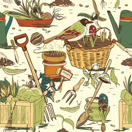 hoe: Hand drawn seamless gardening tools pattern background vector illustration