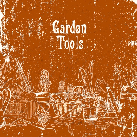 hoe: Hand drawn vintage poster with gardening tools vector illustration
