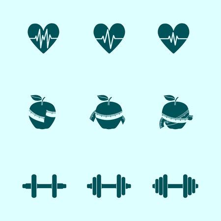 Ejercicios de la aptitud progresan iconos conjunto de la fuerza de la frecuencia cardíaca y la delgadez, ilustración vectorial Foto de archivo - 26448346