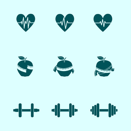 Fitness exercises progress icons set of heart rate strength and slimness isolated vector illustration Illustration