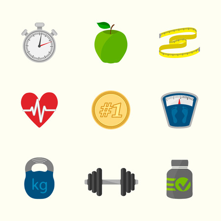 heartrate: Fitness icons set of heartrate apple diet, contrast flat isolated vector illustration