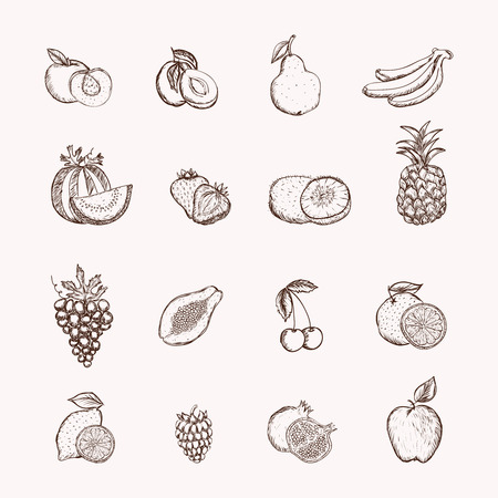 ananas: Fruits icons set of ananas apple bananas and cherry isolated vector illustration