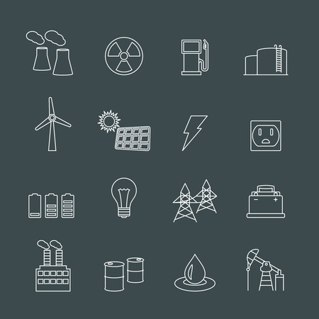 gas turbine: Energy power industry design elements of gas oil well and barrel isolated vector illustration Illustration