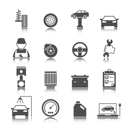 auto service: Car auto service icons set of mechanic maintenance engine repair and garage isolated vector illustration