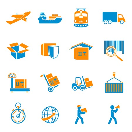 global logistics: Logistic shipping delivery icons set of freight cargo truck export and import isolated vector illustration