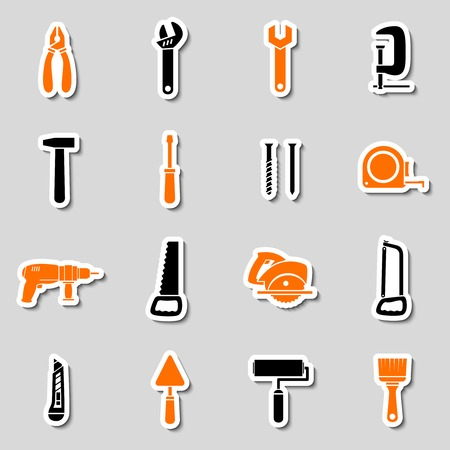 Collection of toolbox stickers isolated vector illustration Vector