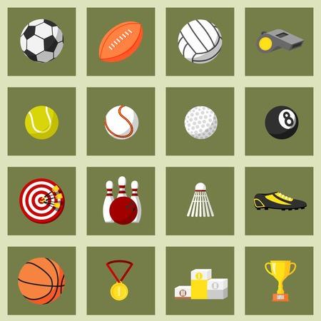 Sports flat icons set of football baseball basketball and tennis balls isolated vector illustration Vector