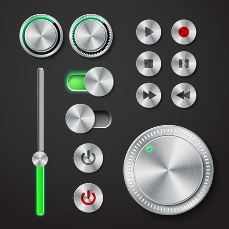 playback: Metal interface buttons collection for power volume playback control vector illustration