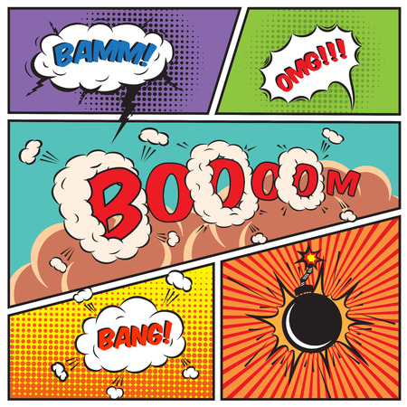 Komické bubliny a komiks pozadí vektorové ilustrace Ilustrace