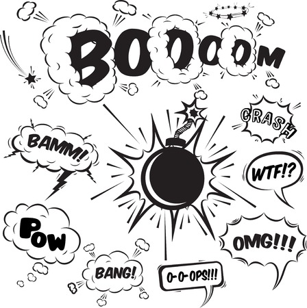 tiras comicas: Burbujas c�micas del discurso Colecci�n de elementos de dise�o, ilustraci�n vectorial