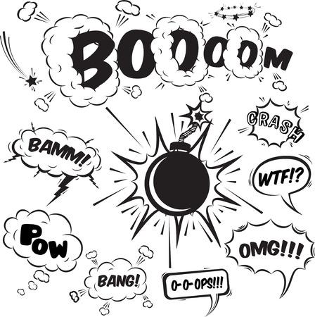 Comic tekstballonnen ontwerp elementen collectie geïsoleerd vector illustratie Vector Illustratie