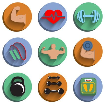 physical fitness: Fitness bodybuilding sport icons set of heart rate physical strength slimness isolated vector illustration
