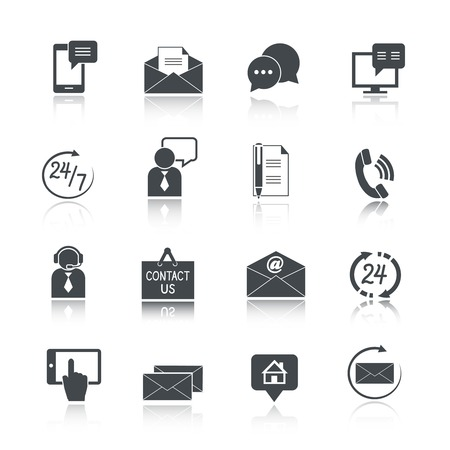 about us: Contact us service icons set of email phone communication and representative person isolated vector illustration