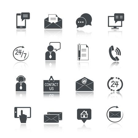 Neem contact met ons dienst pictogrammen instellen van e-mail telefoon communicatie en geïsoleerde representatieve persoon vectorillustratie