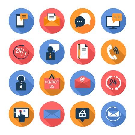 apoyo social: Contactos de atención al cliente los iconos planos de conjunto de servicios de apoyo en línea y fuera de línea, ilustración vectorial Vectores