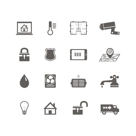 mobilhome: Ic�nes de la technologie domotique intelligente jeu de cam�ra de surveillance des services publics et plan illustration vectorielle isol�