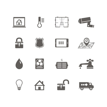 utilities: Iconos de la tecnolog�a dom�tica inteligente conjunto de utilidades de las c�maras de vigilancia y modelo, ilustraci�n vectorial