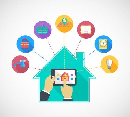 スマート ホーム ・ オートメーション技術フラット概念ベクトル イラスト携帯電話タブレットのコントロールを持っている手  イラスト・ベクター素材