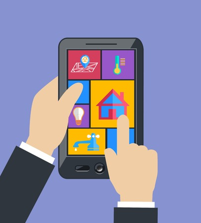 utilities: Hand holding mobile phone tablet controls smart home utilities power efficiency technology flat concept vector illustration