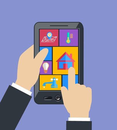 utilities: Mano que lleva a controles de la tableta del tel�fono m�vil inteligente tecnolog�a de utilidades del hogar eficiencia energ�tica concepto plana ilustraci�n vectorial
